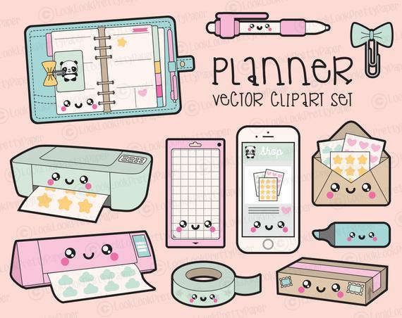 Premium kawaii planning clip. Planner clipart vector