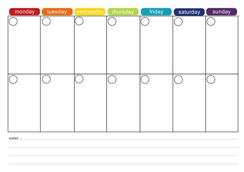 Planner clipart week calendar. More free printable menu