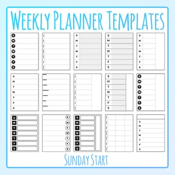 Sunday start templates clip. Planner clipart weekly planner