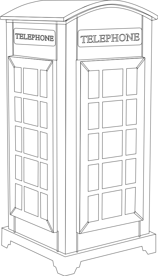 Planning clipart black and white. British phone booth line