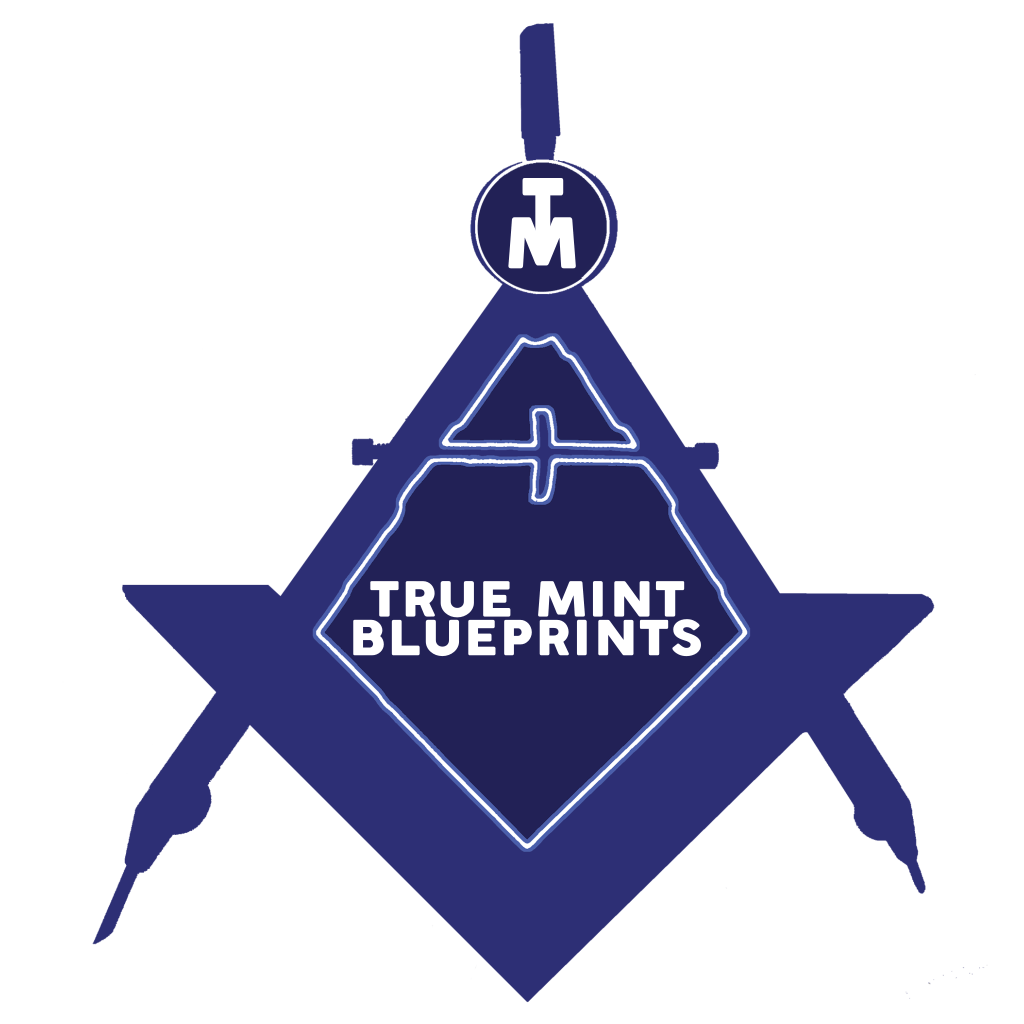True mint blueprints emblem. Planning clipart blueprint
