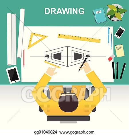 Planning clipart construction company. Vector art drawing illustration