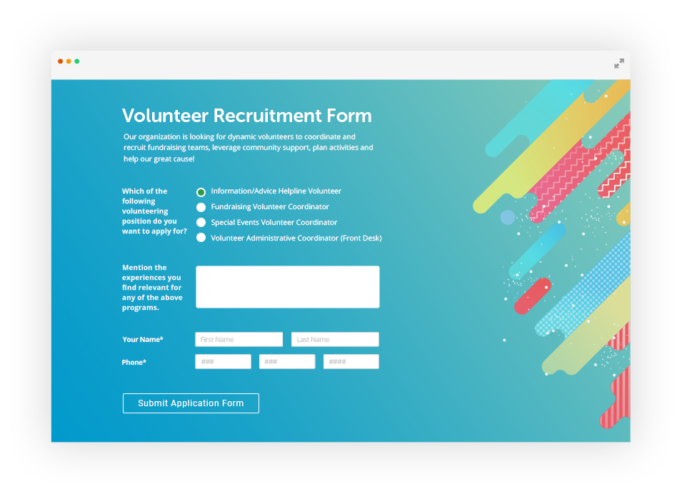 Non profit forms builder. Volunteering clipart form