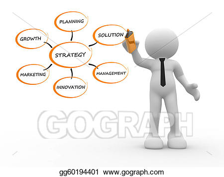Planning clipart person. Strategy stock illustration gg