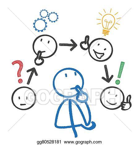 Planning clipart stock. Illustrations stickmen thinking concept
