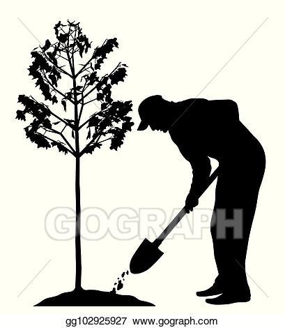Man a tree illustration. Planting clipart vector