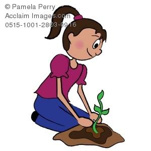 Clip art illustration of. Planting clipart