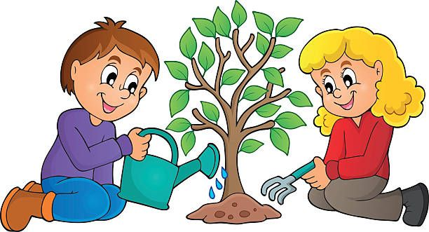 Child planting clip art. Plant clipart tree