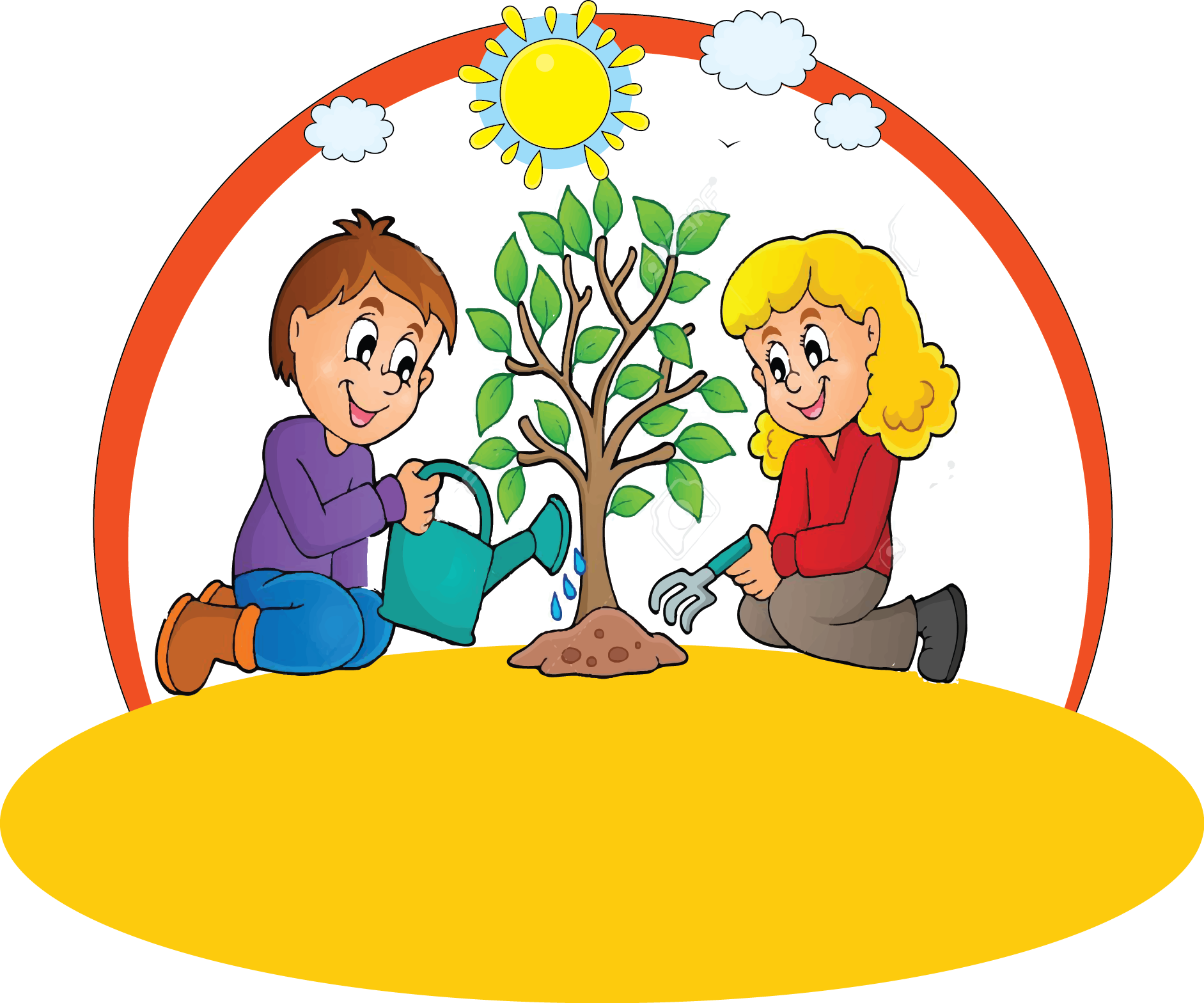 Kids cottage early years. Planting clipart kid