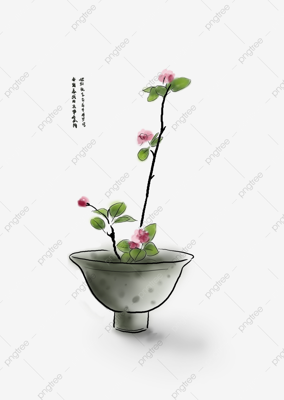 China antiquity traditional plum. Planting clipart pink plant