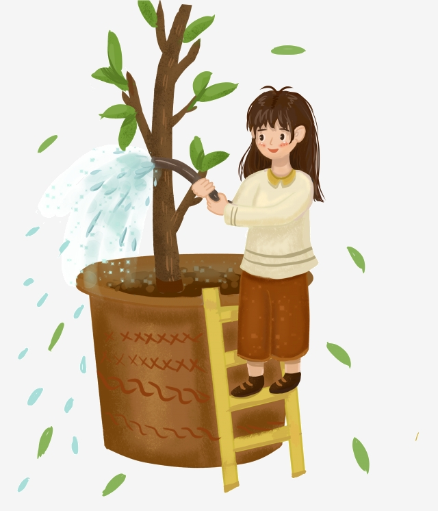Planting clipart potted plant. Small tree watering festival