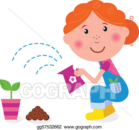 Vector stock small girl. Planting clipart water plant