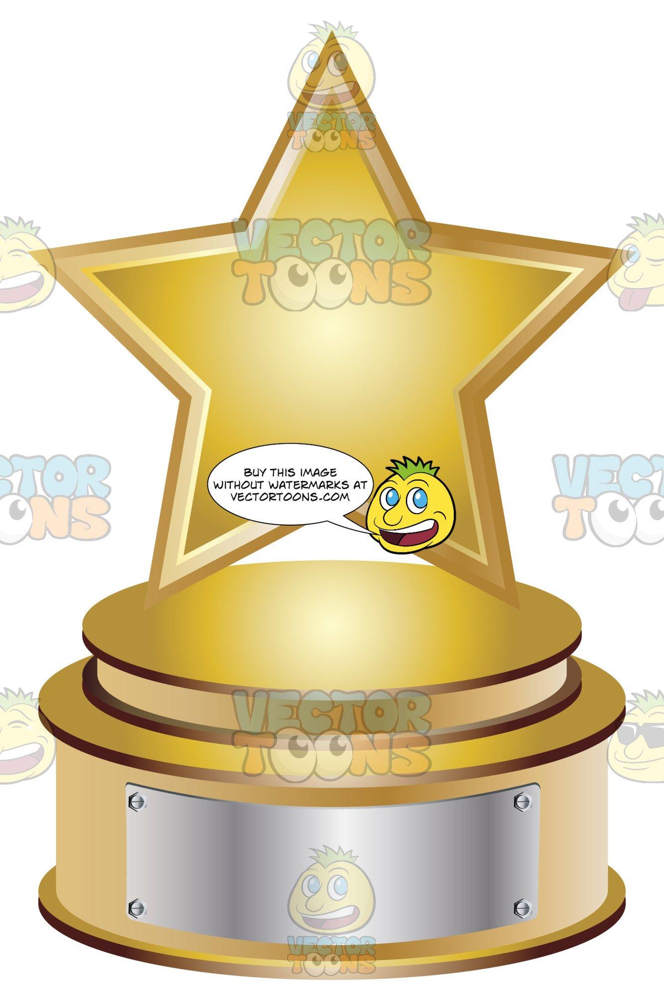 Gold star trophy on. Plaque clipart trophie