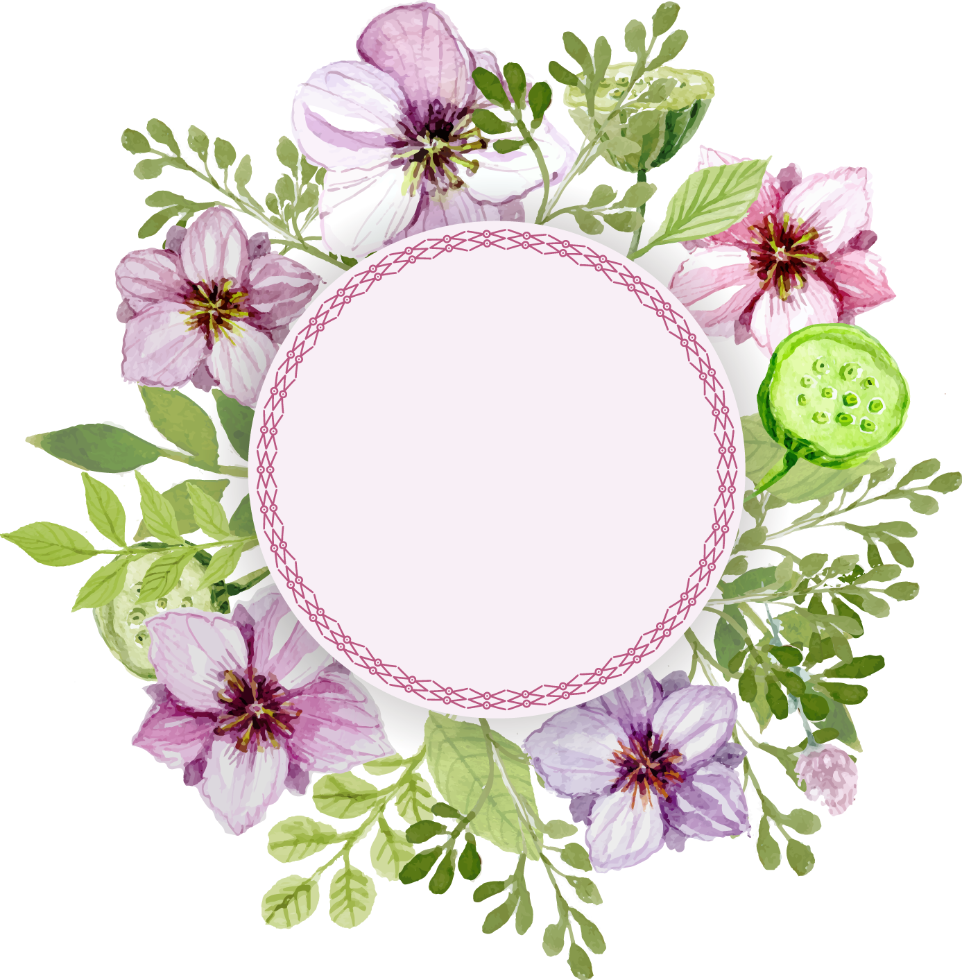 Flower painting label delicate. Plate clipart watercolor