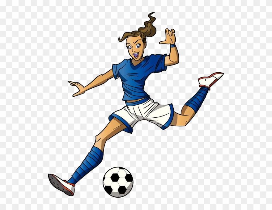 Cartoon girl clip art. Play clipart female soccer player