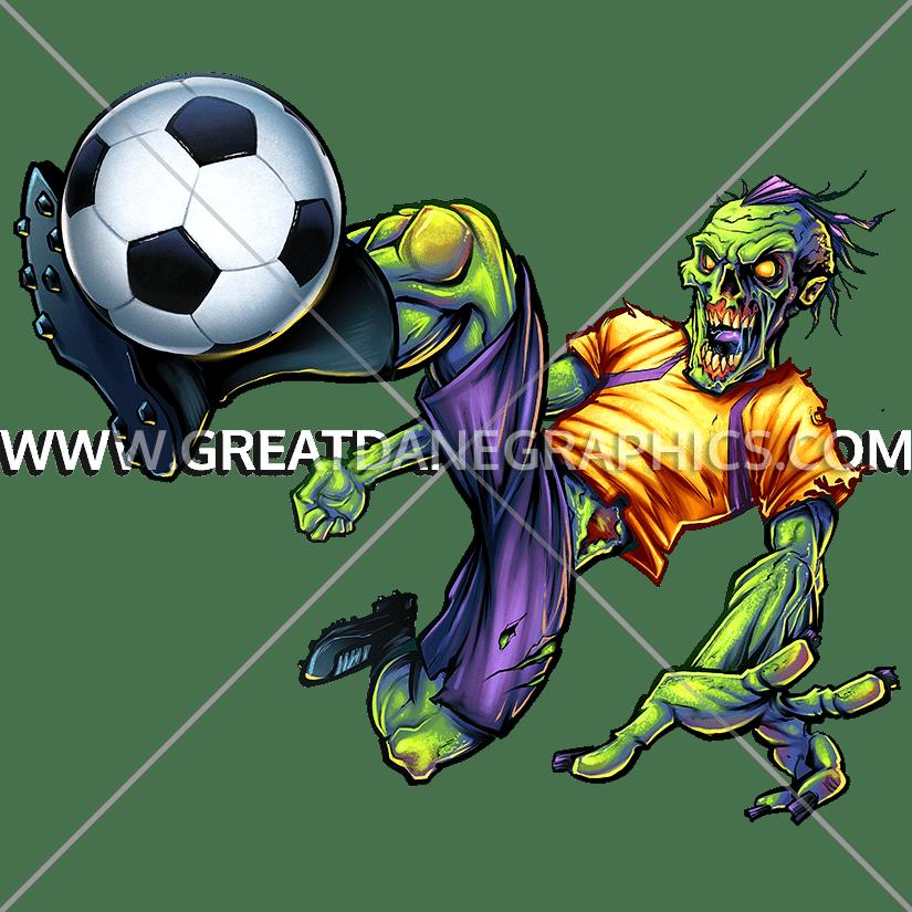 Kick production ready artwork. Zombie clipart soccer