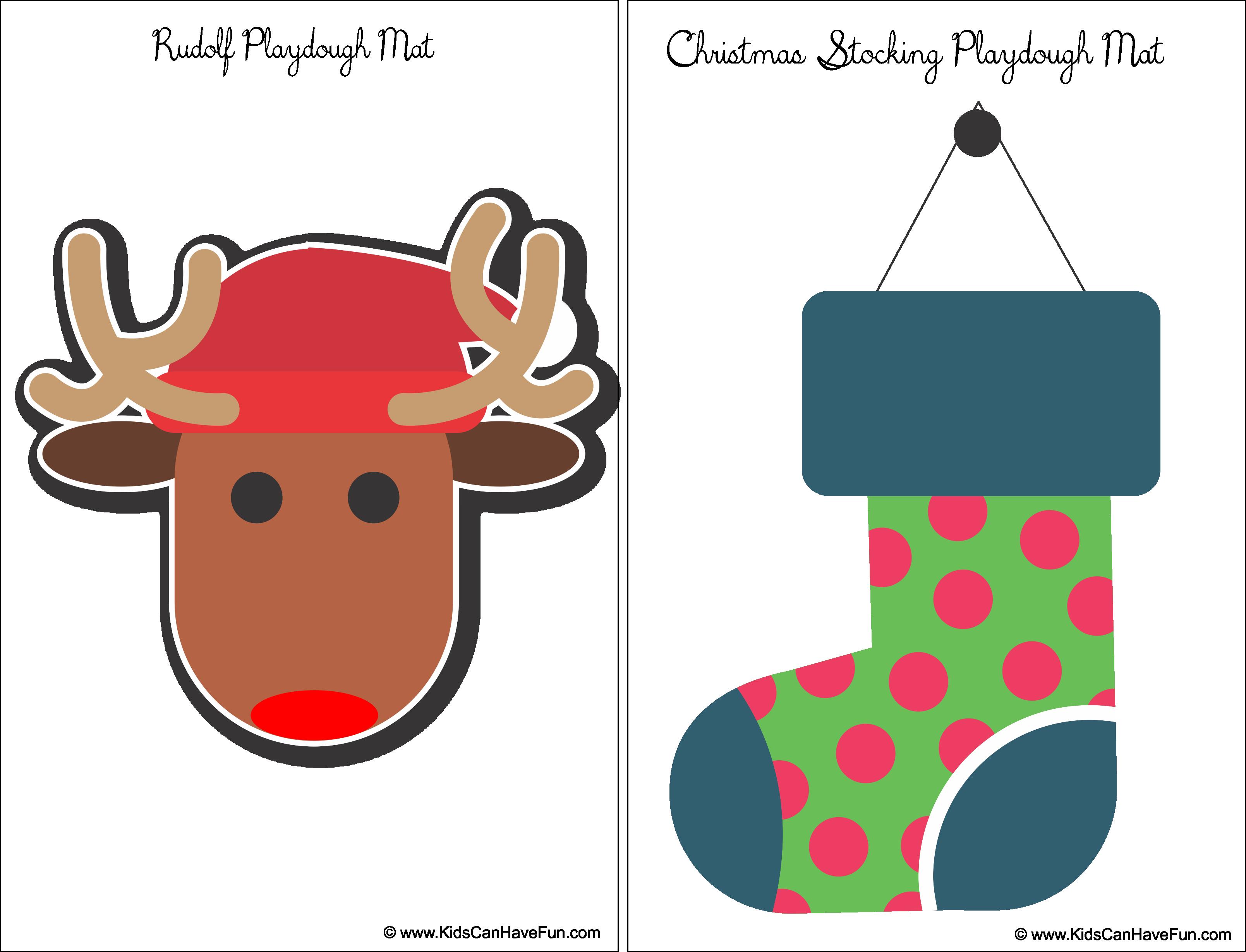 Playdough clipart cartoon. Rudolf and christmas stocking