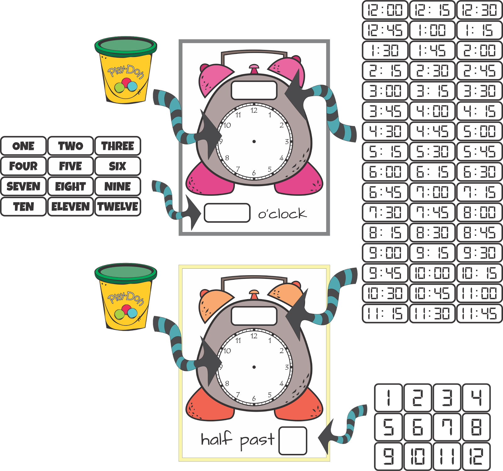 Playdough clipart free play time. Telling by the hour