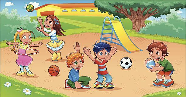 Kids playing on clip. Playground clipart