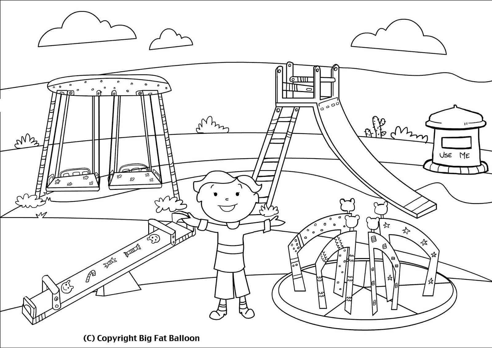 Playground clipart black and white. Kids on station