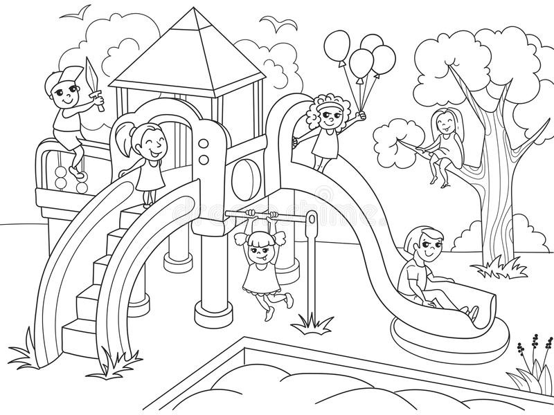 Childrens coloring vector illustration. Playground clipart black and white