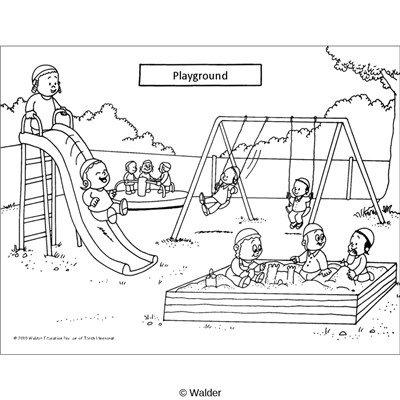 School . Playground clipart black and white