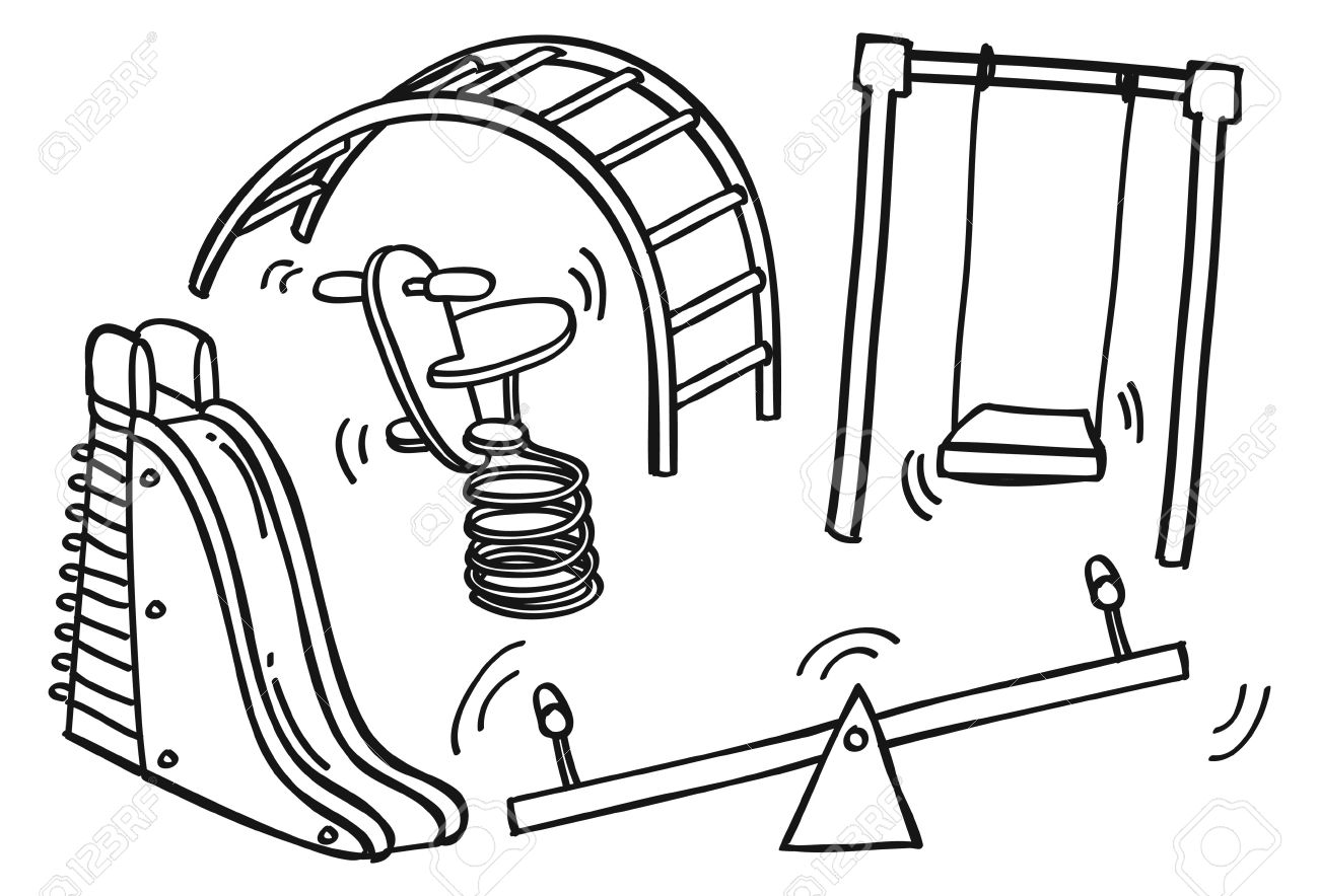 Kids playing on . Playground clipart black and white