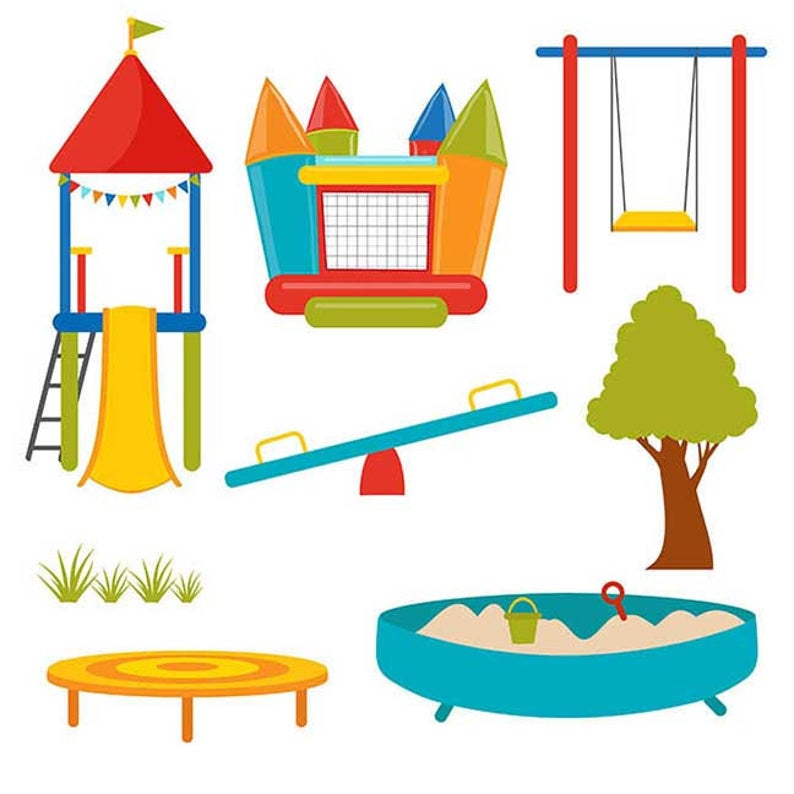 Playground clipart cute. Vector digital instant download