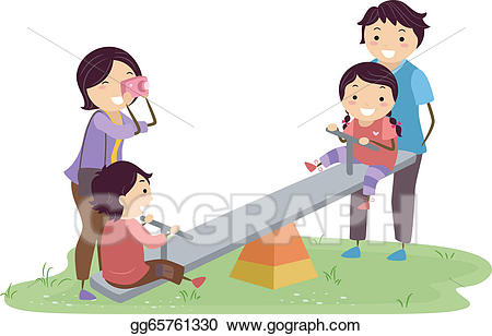 Playground clipart family. Vector stock stickman in