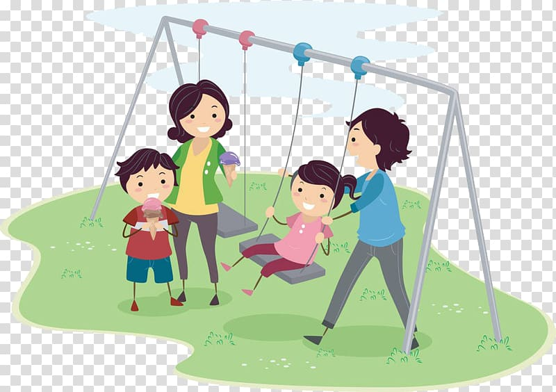 Quality time creative cartoon. Playground clipart family