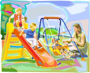 Playground clipart family. A playing on outdoors