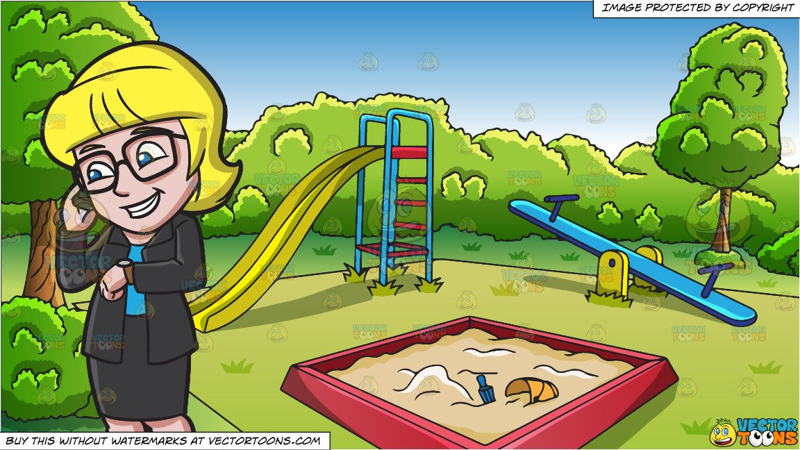 Playground clipart outdoor time. A businesswoman checking the
