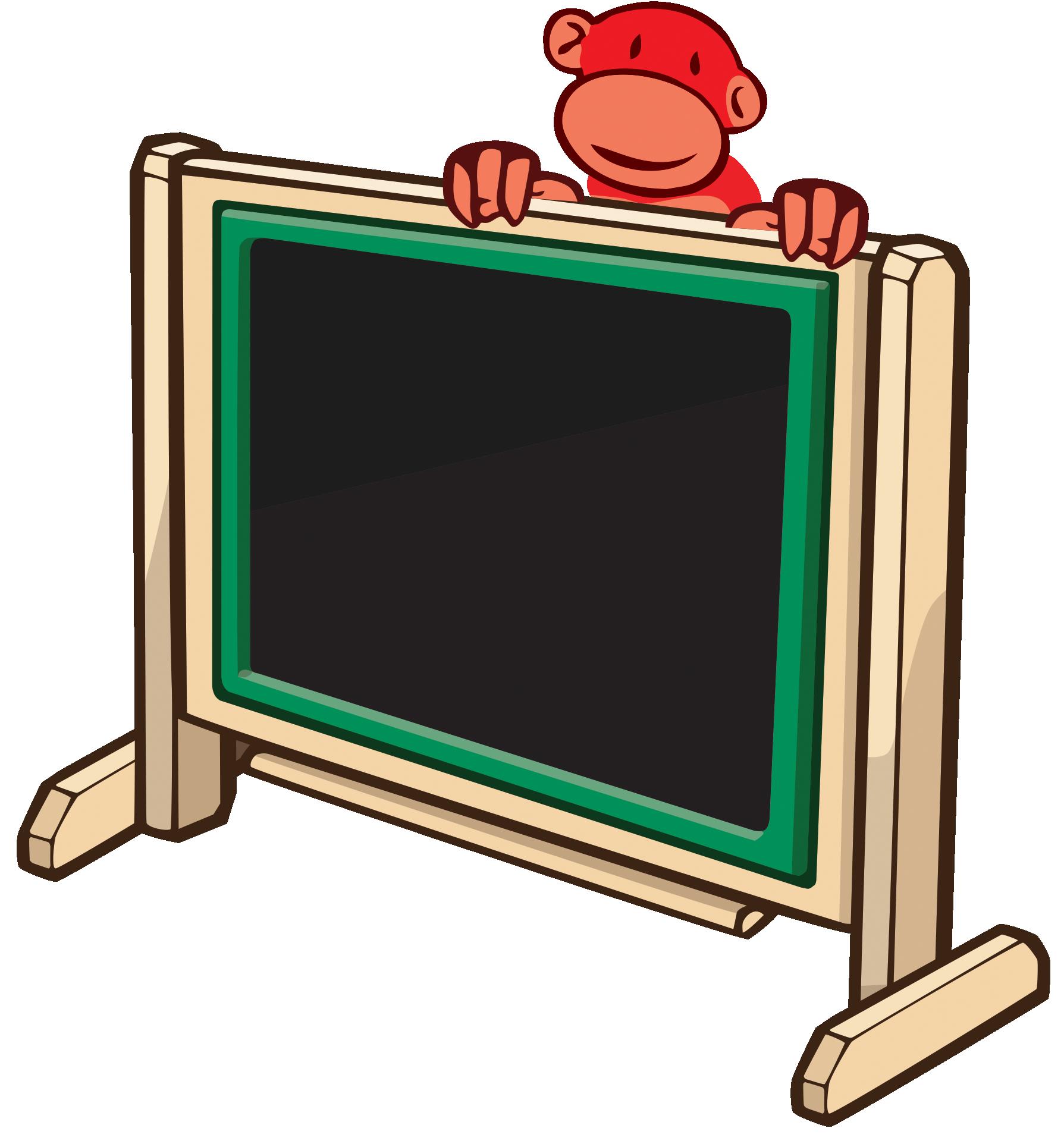 Arts red monkey chalk. Playground clipart school environment