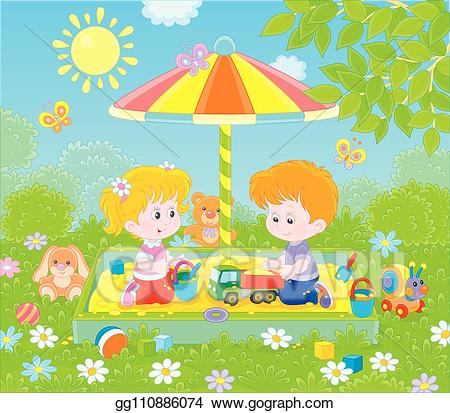 Playground clipart small park. Eps vector children playing