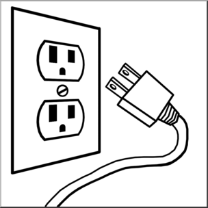 Electric clipart black and white. Clip art electricity outlet