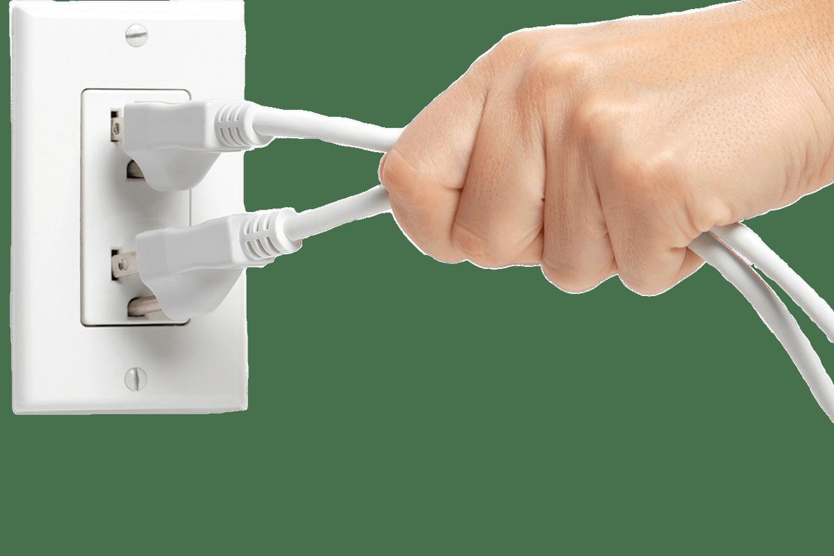 Plug clipart extension. Hand unplugging plugs transparent
