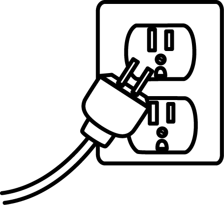 Black and white . Plug clipart
