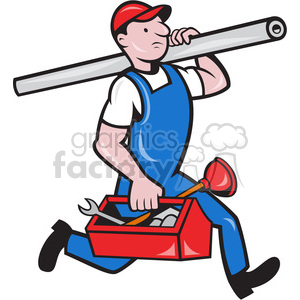 Royalty free tube toolbox. Plumber clipart