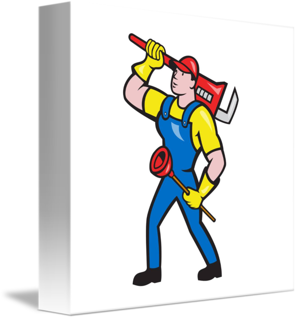 Carrying wrench plunger cartoon. Plumber clipart retro