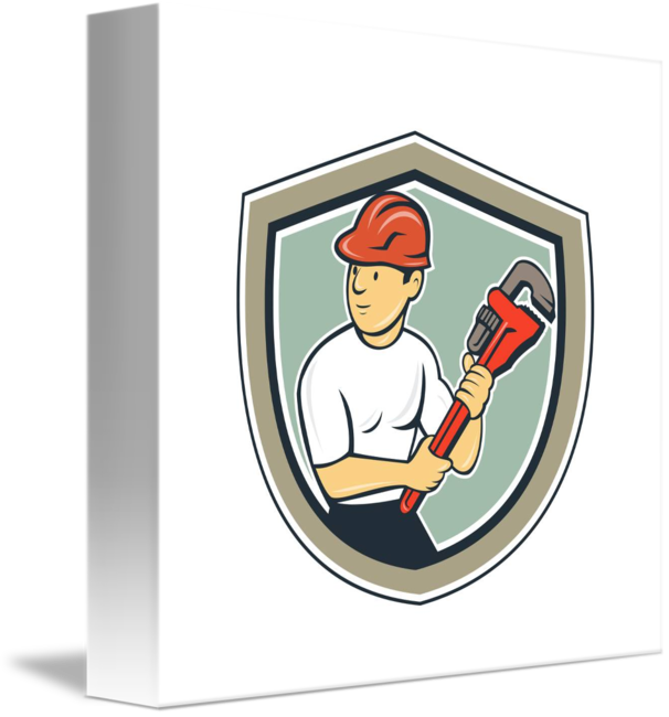 Holding monkey wrench shield. Plumber clipart retro