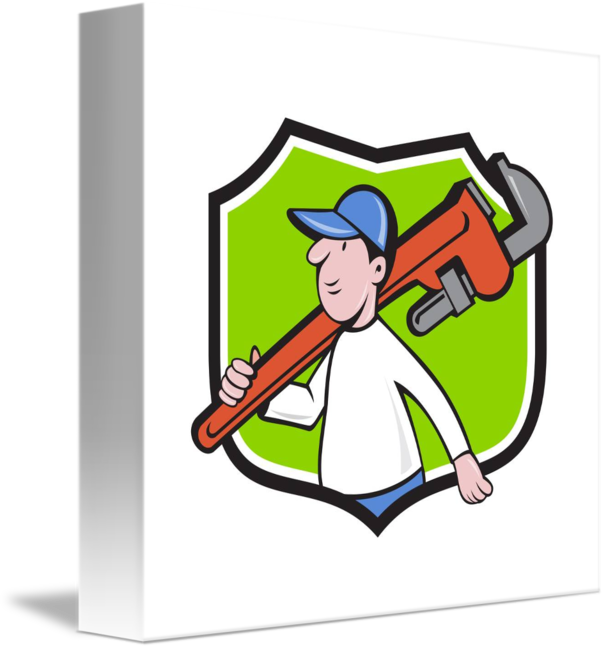 Plumber clipart retro. Holding monkey wrench crest