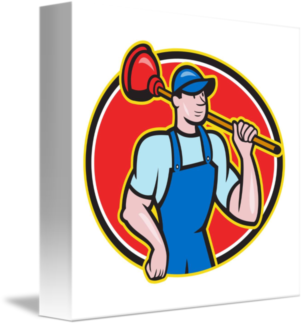 Holding plunger cartoon by. Plumber clipart retro