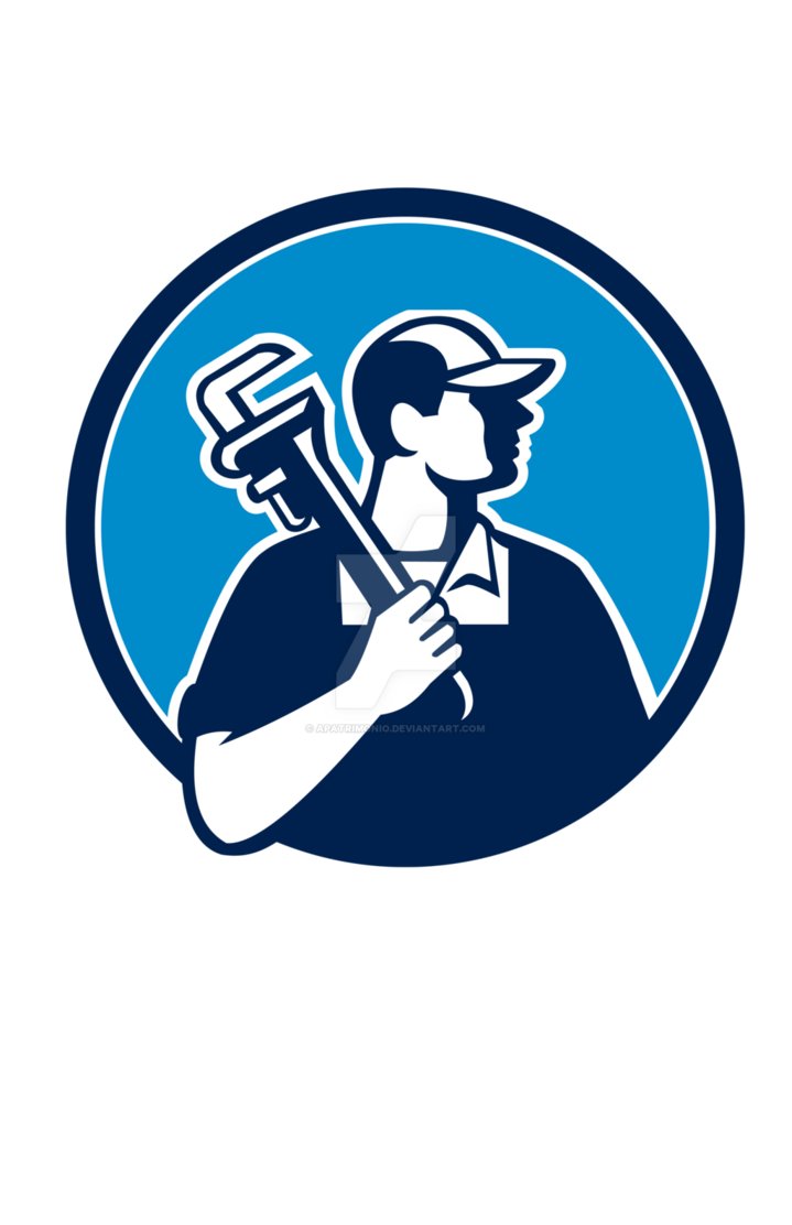 Holding pipe wrench circle. Plumber clipart retro