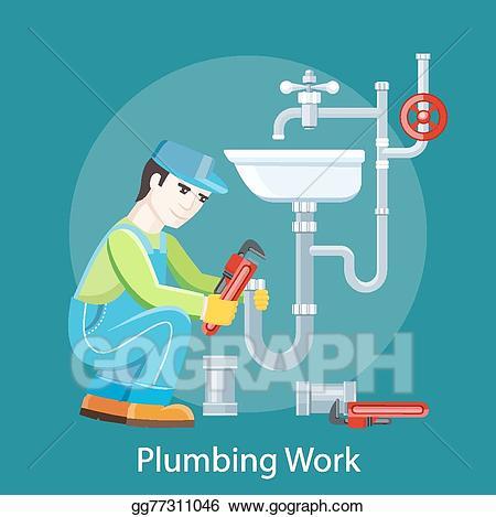 Vector art plumbing work. Plumber clipart worker