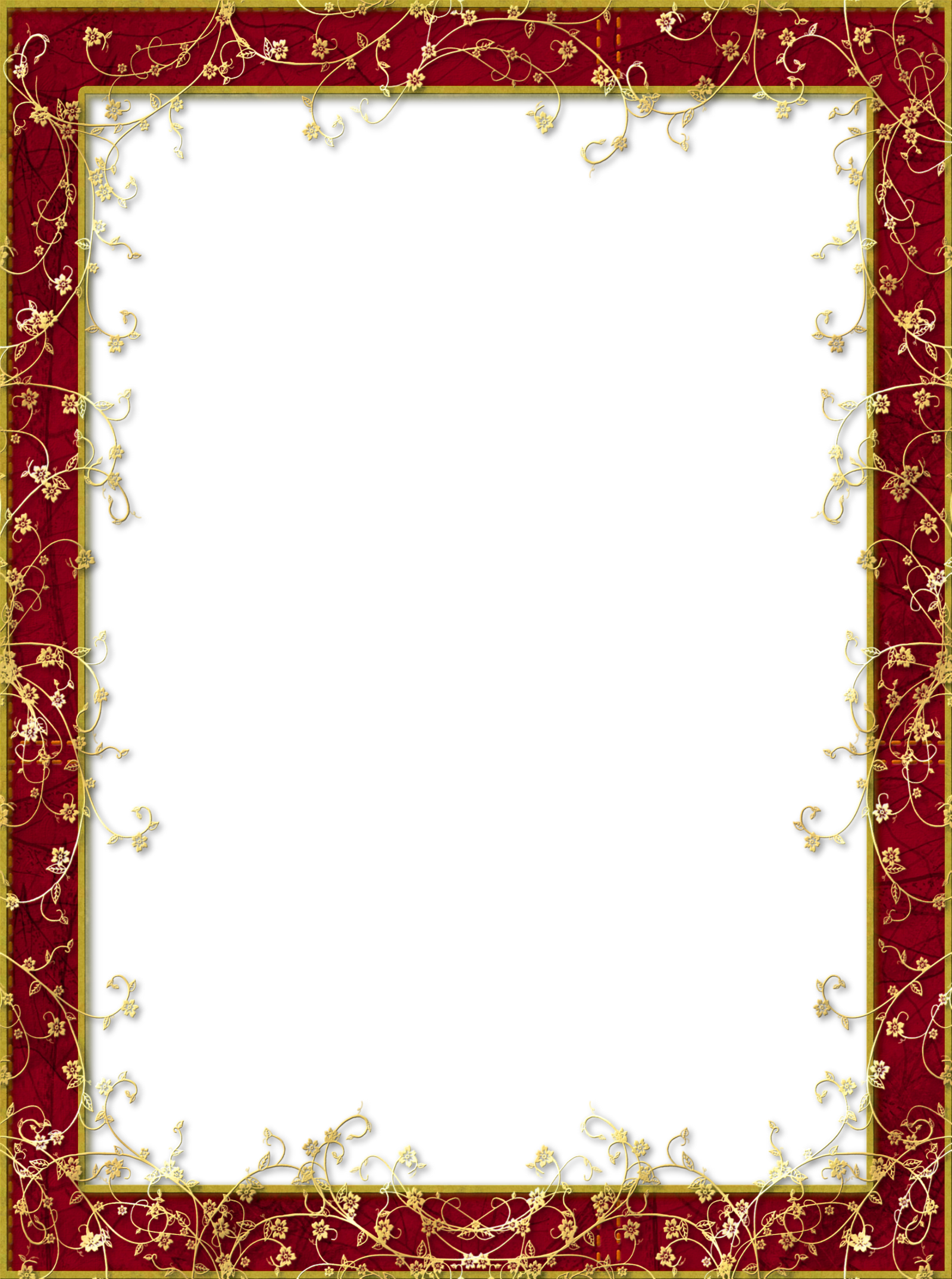 Red transparent with gold. Png photo frame