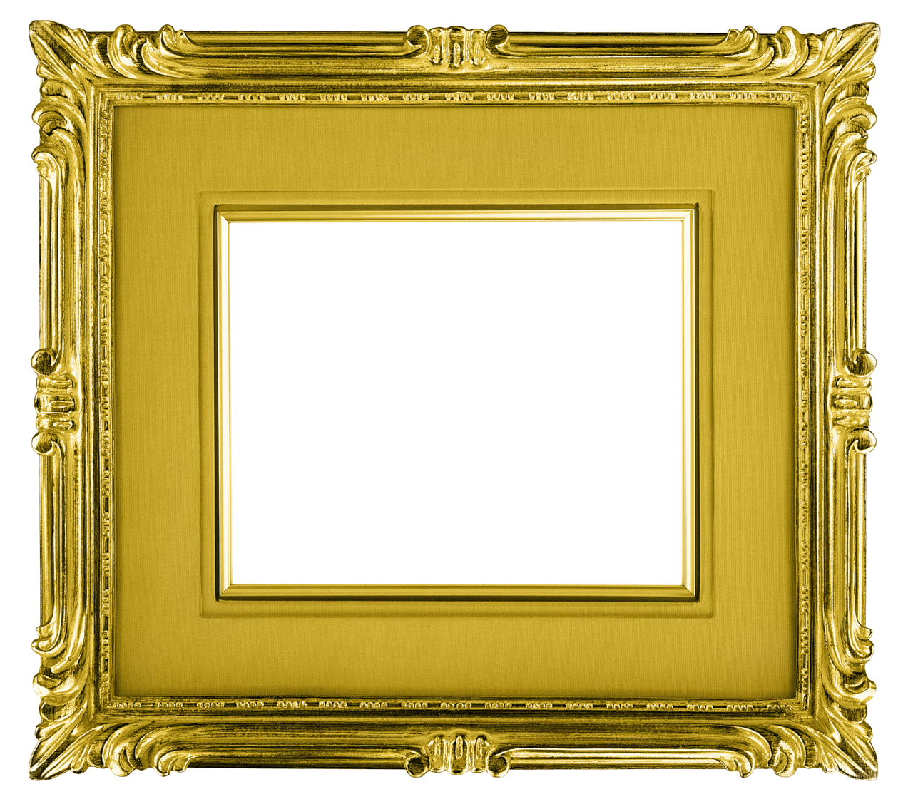 Png picture frame. Gold landscape transparent stickpng