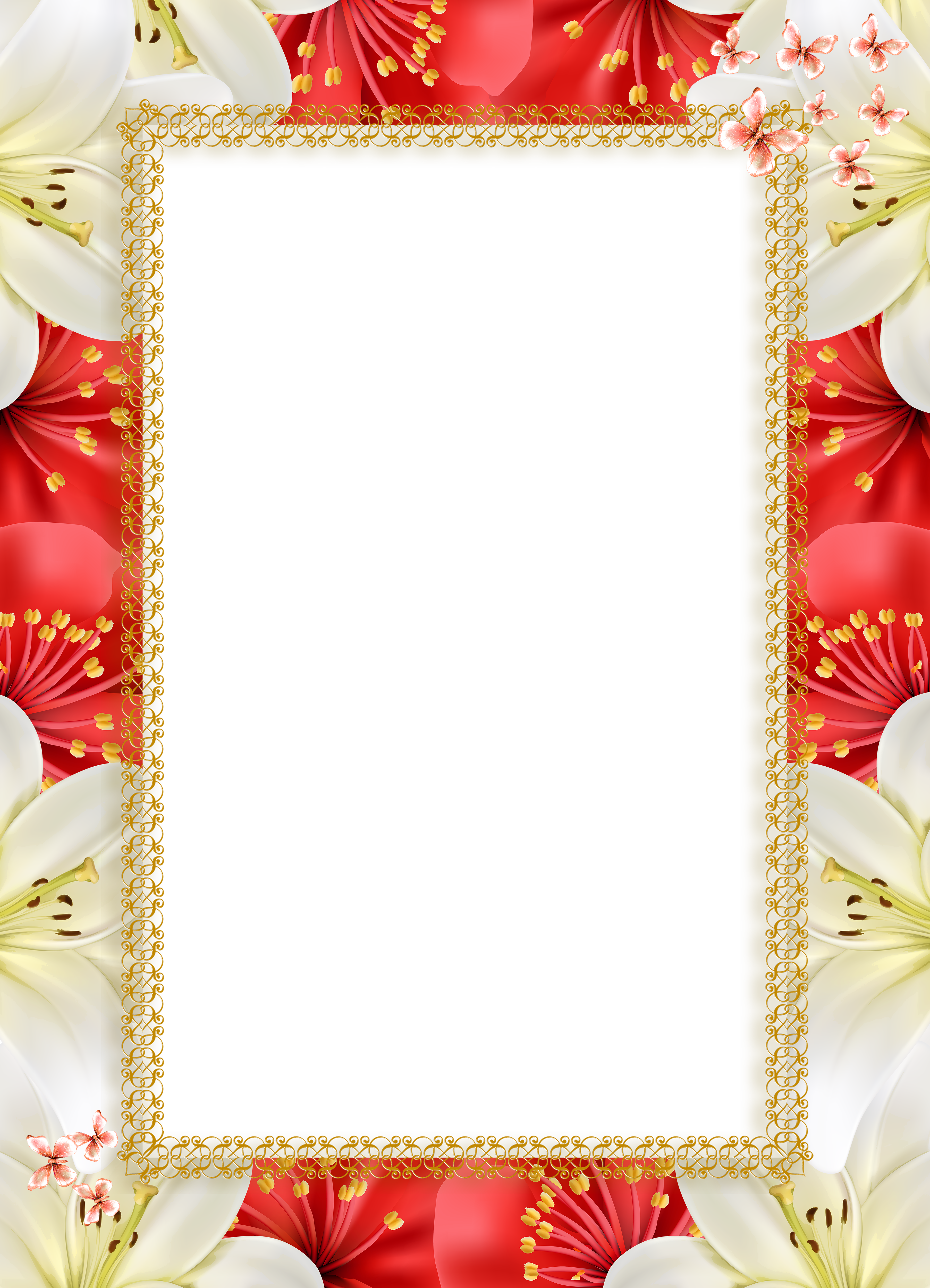 Png picture frame. Red white flowers transparent