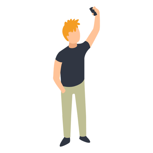 Man taking selfie illustration. Png to vector illustrator