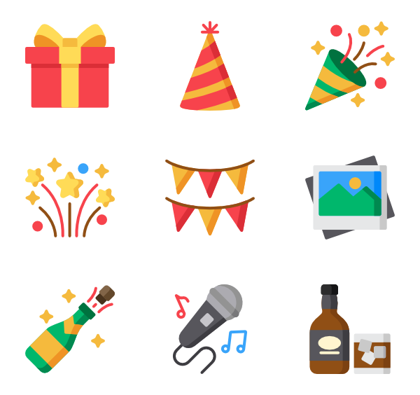 Event icons free party. Png to vector illustrator