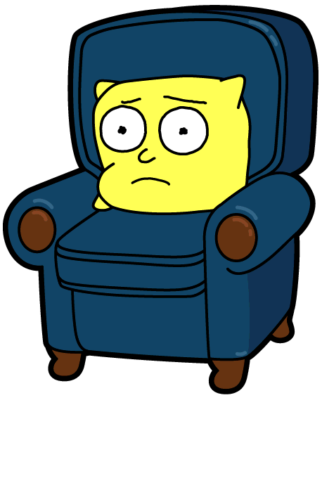 chair morty pocketmortys. Tired clipart weak arm